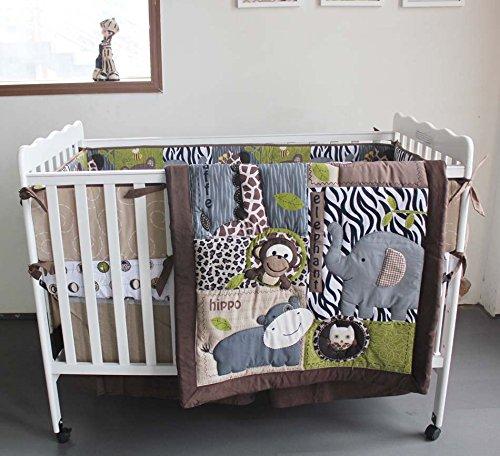 NAUGHTYBOSS Baby Bedding Set Cotton 3D Embroidery Bear Elephant Giraffe Owl Animal world Quilt Bumper Mattress Cover 7 Pieces Dark Blue by NAUGHTYBOSS