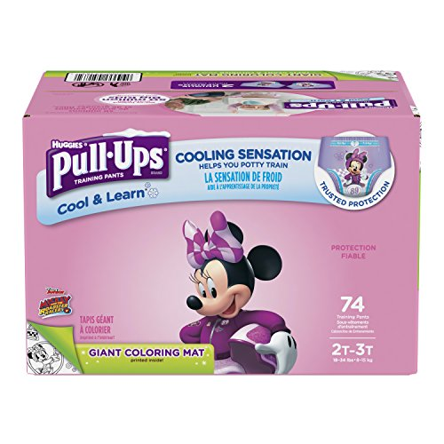 Pull-Ups Cool & Learn Training Pants for Girls, 2T-3T (18-34 lbs.), 74 Count, Toddler Potty Training Underwear, Packaging May Vary