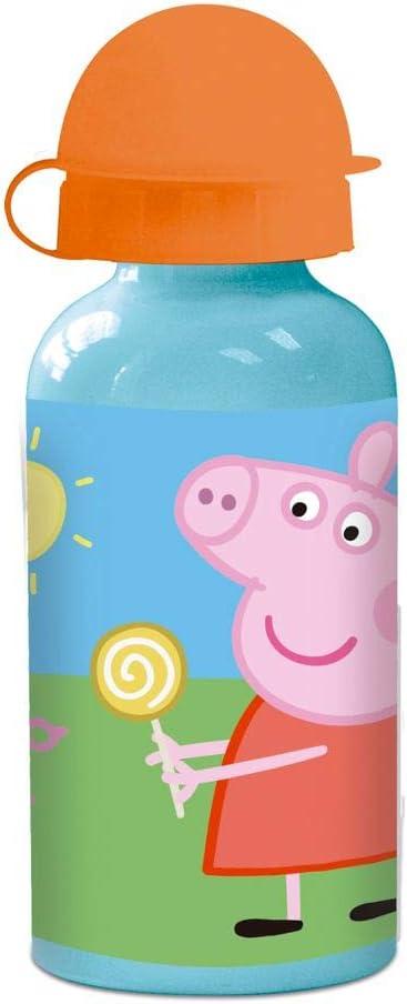 Peppa Pig Botella de Aluminio | 400 ml Deportes Botella | Niños Cantimplora
