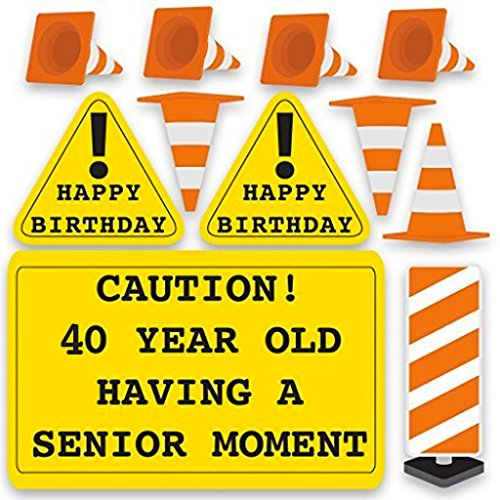 40th Birthday Yard Decoration - Caution 40 Year Old Having A Senior Moment (15 Short Stakes)