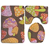 Mushroom Forest Accessories Bathroom Rugs Set Slip-resistant Bath Rug Set Combo Lid Toilet Cover And Bath Mat