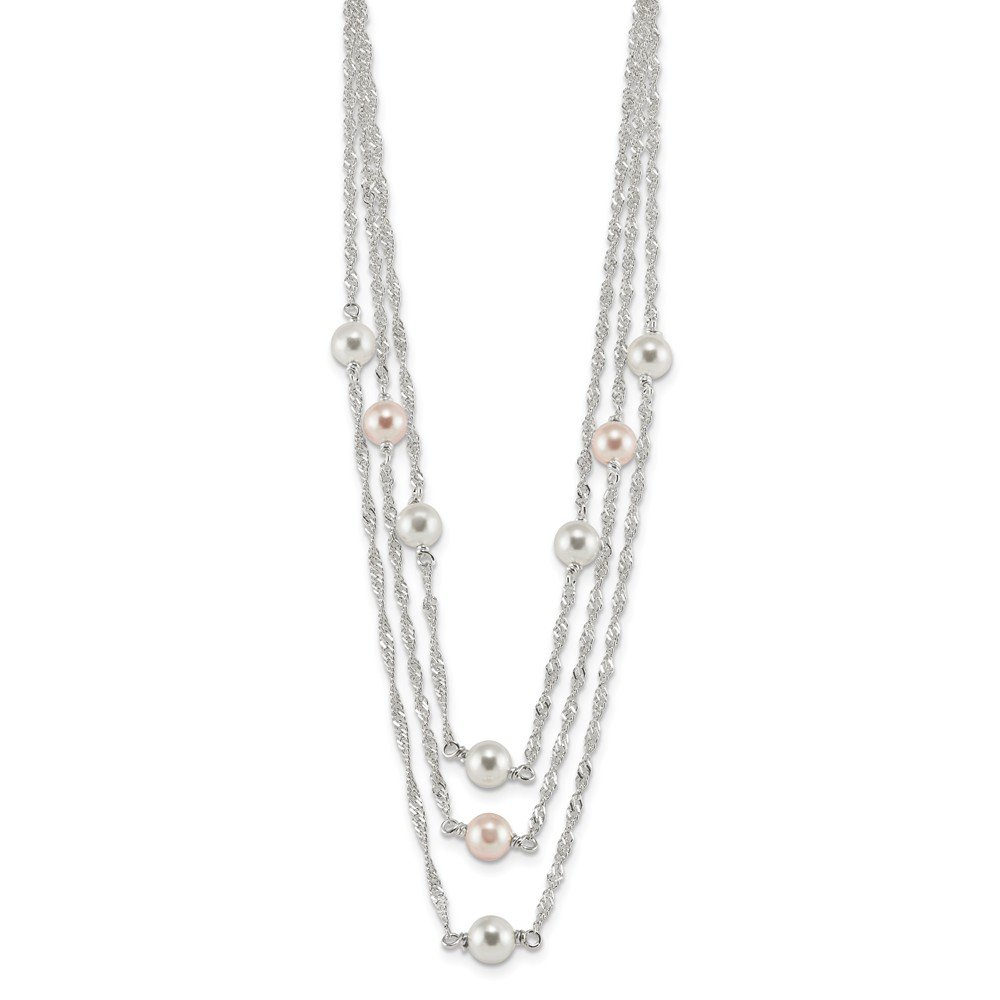 Jewelry Best Seller Sterling Silver Multi-Strand Simulated Pearl 16in w/2in Ext Necklace