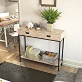 Roomfitters 2 Drawer Entryway Console Table, Sofa Table for Hallway Foyer, 2 Tier Display Shelf, Multipurpose Rectangular Modern Cabinet Table, Oak Wood