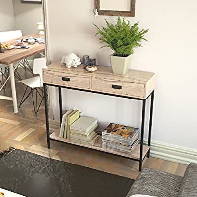 Roomfitters 2 Drawer Entryway Console Table, Sofa Table for Hallway Foyer, 2-Tier Display Shelf, Multipurpose Rectangular Modern Cabinet Table, Oak Wood - Multi-function: can be used as office workstation, meeting desk, home desk, credenza, TV stand. Put it in the entryway or behind a sofa, and also makes a chic media stand with straight industrial black metal table frame. Two drawers provide ample storage space, handy drawer conceals all your home essentials and organizes your items with the 2 drawer divider. Materials: PB/MDF with paper laminating. Metal with powder coating. - living-room-furniture, living-room, console-tables - 51OYI5QjwVL. SS400  -