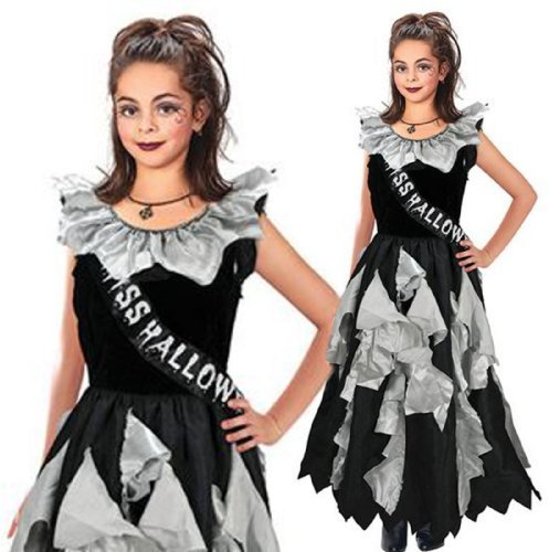 Dead School Girl Costume (Girls 11-13 yrs Dead Zombie Ghouls School Prom Disco Queen Fancy Dress Costume by Bristol Novelties)