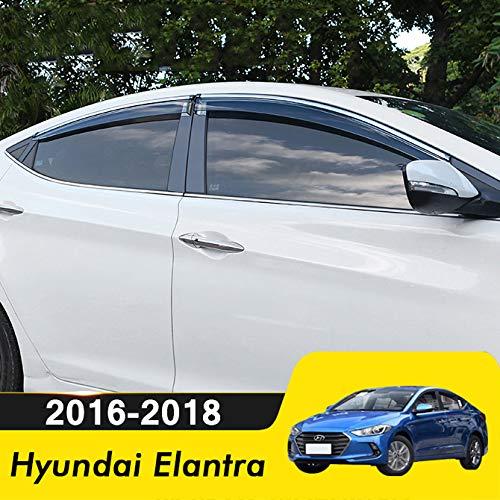 biosp Compatible for 2017 Hyundai Elantra Visor Rain Sun Deflectors Car Window Ventvisor Shade Wind Deflector -