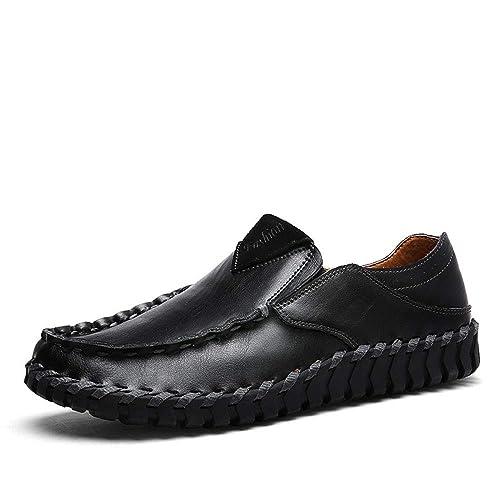 Mocasines para Caminar Zapatos Casuales de Cuero de los Hombres de Verano Zapatos Hechos a Mano Zapatos de Barco: Amazon.es: Zapatos y complementos
