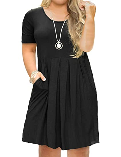 FOLUNSI Women\'s Plus Size Casual Short Sleeve/Long Sleeve Pleated T Shirt  Dress with Pockets