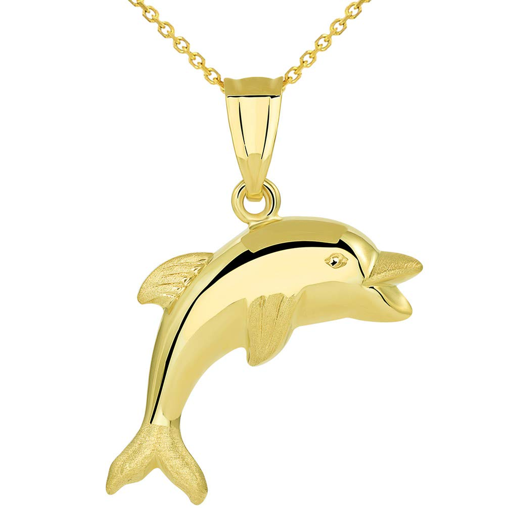 14k Yellow Gold Polished Smiling and Jumping 3D Dolphin Pendant Necklace