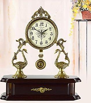 GYX Uhr Antik Schweigen Modernes Wohnzimmer Uhr Zubehör Kupfer Einfache  Pendel Uhr Verzierung
