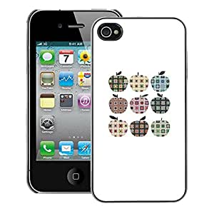 A-type Arte & diseño plástico duro Fundas Cover Cubre Hard Case Cover para iPhone 4 / 4S (Checkered Plaid Apple Pattern Minimalist)