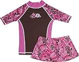 grUVywear Girls Short Sleeve UPF 50+ Rash Guard and Bikini Skirt Swimsuit Set - Pink Paisley | 9-10