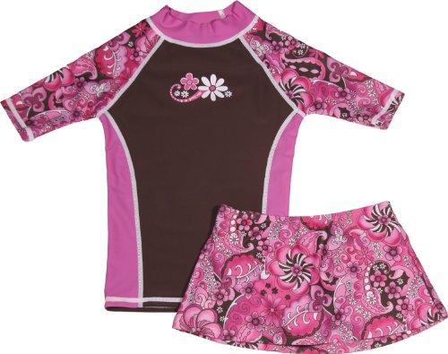 (grUVywear Girls Short Sleeve UPF 50+ Rash Guard and Bikini Skirt Swimsuit Set - Pink Paisley | 7-8 )