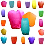 Arts & Crafts : Just Artifacts 20 Eco Wire-free Assorted Chinese Flying Sky Lanterns (20-Pack, Assorted Shapes & Colors) - 100% Biodegradable, Environmentally Friendly!