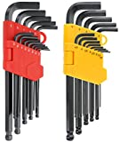 Drixet Long Arm Ball Point Hex Socket Driver Allen Key SAE-Inch & Metric Set with A Storage Case. (26 Piece)