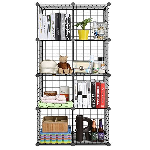 Homfa DIY Metal Wire Grid Storage Cubes Organizer, Modular DIY Display Shelving Closet System, Multi-functional Bookcase Cabinet Unit for Books, Plants, Toys and Clothes (8 - Regular ()