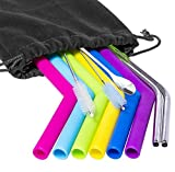 Reusable Straws Silicone Stainless Steel Straws - Set of 10 Drinking 10.5 Inch 20 30oz Extra Long 1 Bar Spoon - for Tumblers Rumblers Cold Beverage (6 Silicone  2 Steel 2 Brushes 1 Spoon)