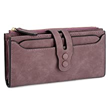 UTO Women's PU Matte Leather Large Capacity Wallet Card Phone Holder Organizer Girls Coin Purse with Snap Closure