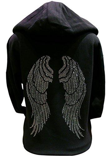 Black and Silver Rhinestone Angel Wings Long Sleeve Hooded Zipper Sweater Black (XL)