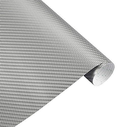 VINFLY&C 10X152cm 4D Carbon Fiber Vinyl Wrapping Film Motorcycle Stickers Accessories Silver