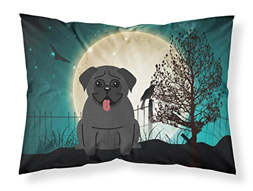 Caroline's Treasures BB2196PILLOWCASE Halloween Scary Pug Black Fabric Standard Pillowcase, Standard, Multicolor ()