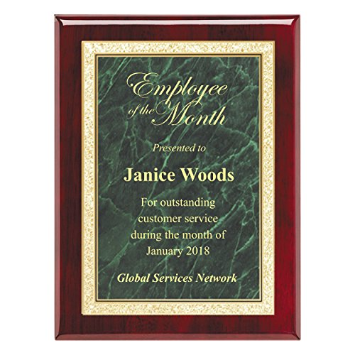 Custom Engraved Plaque - High Gloss Rosewood Finish with Florentine Border Plate - 7