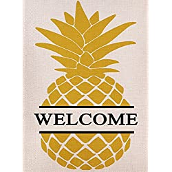 Dyrenson Home Decorative Outdoor Double Sided Pineapple Garden Flag Yellow Welcome Quote, House Yard Flag, Garden Yard Decorations, Seasonal Outdoor Flag 12.5 x 18 Spring Summer Gift