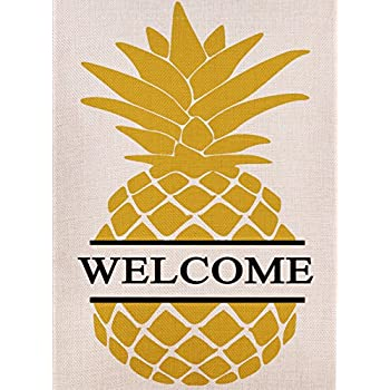 Bon Dyrenson Home Decorative Outdoor Double Sided Pineapple Garden Flag Yellow  Welcome Quote, House Yard Flag