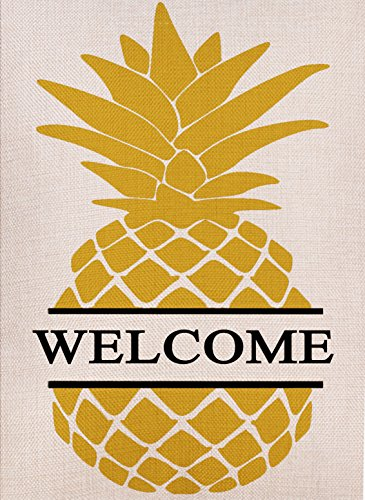 - Dyrenson Home Decorative Double Sided Pineapple Large House Flag Burlap Yellow Welcome Quote, House Yard Flag, Garden Yard Decorations, Seasonal Outdoor Flag 28 x 40 Spring Summer
