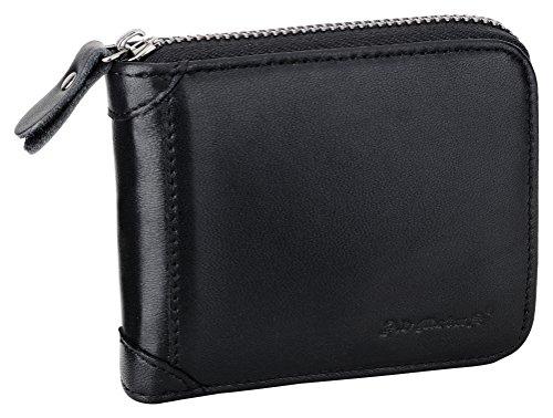 Mens Wallets Leather Zipper Wallet for Men Bifold RFID Multi Card Holder Purse black132