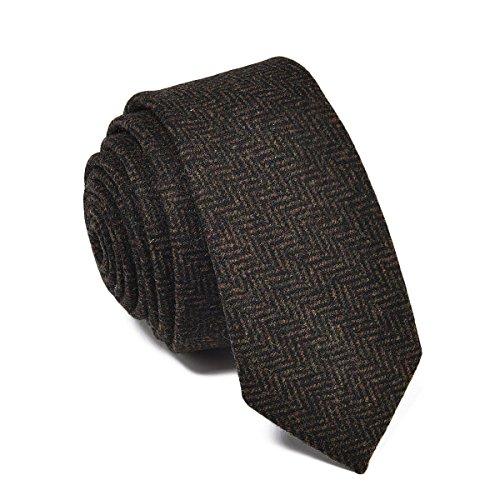 VOBOOM Mens Necktie Skinny Tie Tweed Pattern Woolen Neck Tie-many colors (Mens Tweed)