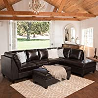 Shakespeare Dark Brown Leather Sectional Couch
