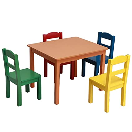 Admirable Amazon Com Harborii Kids Wooden Table And 4 Chairs Set 5 Machost Co Dining Chair Design Ideas Machostcouk