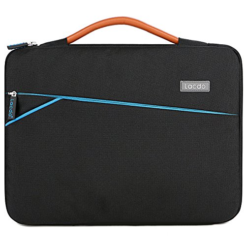 Lacdo 360° Protective Laptop Sleeve Case Briefcase Compatible 15.6 Inch Acer Aspire, Predator, Toshiba, Dell Inspiron, ASUS P-Series, HP Pavilion, Lenovo Chromebook Notebook Bag, Water Repellent Blac