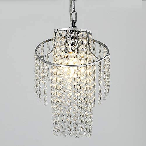 Mini Crystal Chandelier Modern Pendant Light Fixture Chrome Finish