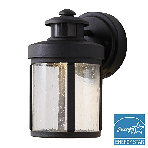 Hampton Bay Black Motion Sensor Outdoor Integrated LED Small Wall Mount Lantern (With Lantern Motion Detector)