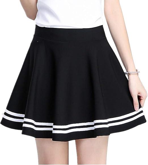ChenYongPing Mujer Faldas Falda Plisada de Talle Alto para Mujer ...