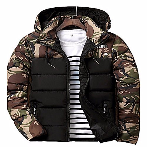 Street Casual Chic Men'S ZHUDJ Green Cotton Letter Camouflage Coat Polyester Long Daily Padded Sleeves qfwHqAFt