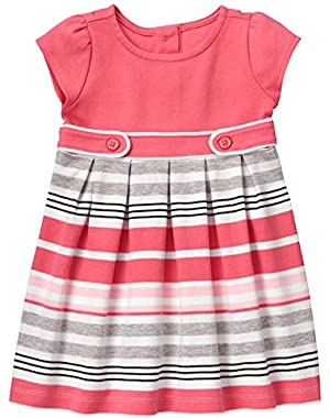 Baby Girls' Pink and Grey Striped Ponte Dress