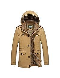 AooToo Mens Warm Detachable Hooded Winter Coat