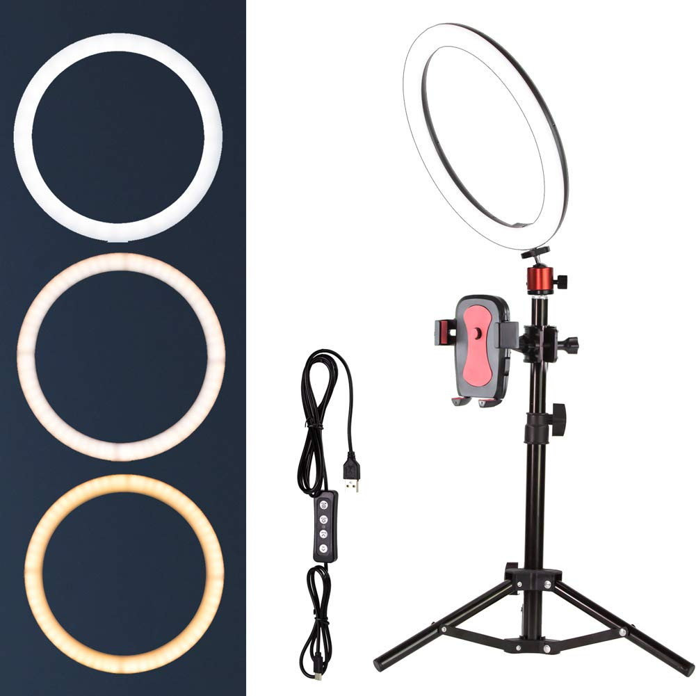 10'' Selfie Ring Light with Tripod Stand for Live Stream,Makeup,Nugilla Led Desktop Ring Light,Mini LED Camera Light with Cell Phone Holder Desktop LED Lamp with 3 Light Modes & 11 Brightness Level.
