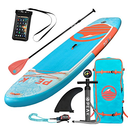 PEAK 10' Yoga Fitness Inflatable Stand Up Paddle Board Package, 6-inch thickness, Wide Stable Outline built for Fitness and Active Users on Flat Water (Coral)