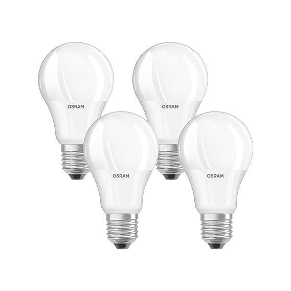 Osram Lámpara LED clásica con base en forma de bombilla, plástico, blanco cálido, E27, 9W, juego de 4: Amazon.es: Iluminación