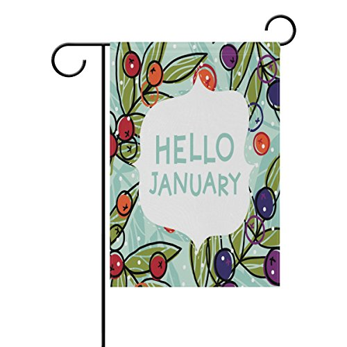 ALAZA Hello January with Cherry Polyester Garden Flag House Banner 12 x 18 inch, Two Sided Welcome Yard Decoration Flag for Wedding Party Home Decor