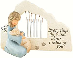 Faithful Angel by Robin Davis Dog Pet Bereavement Memory Memorial Wind Chime Marker Statue Figurine