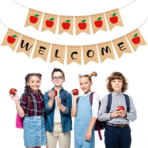 Welcome Apple - 2 Sets Burlap Welcome Banner Apple Banner Bunting Sign Back to School Banner Fall Banner School Banner for Classroom Decor Teacher Gifts Apple Themed Party Decorations