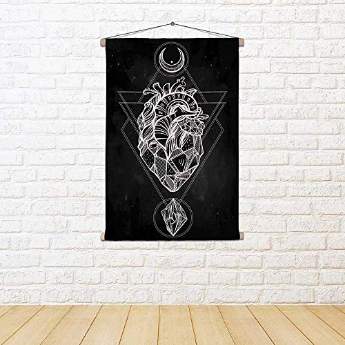 ArtzFolio Heart with Moons & Gems Satin Painting Tapestry Scroll Art Hanging 24 X 33.6Inch ()