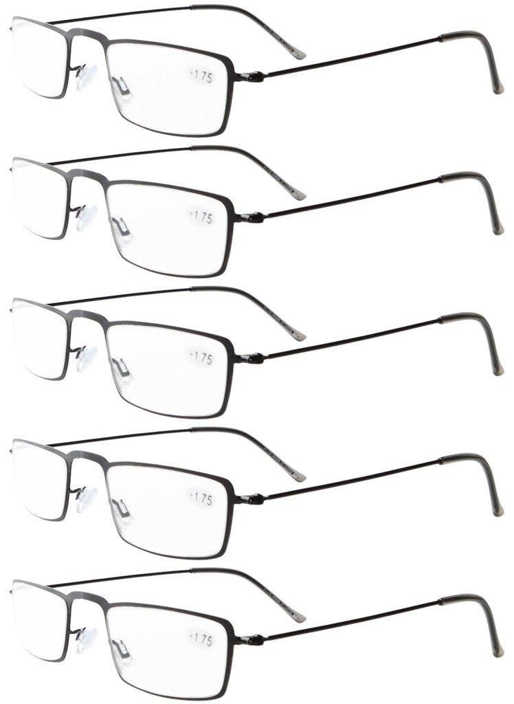 34543443df5 Eyekepper 5-Pack Stainless Steel Frame Half-eye Style Reading Glasses  Readers Black +