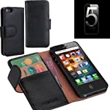 i-Blason Apple New iPhone 5S / iPhone 5 Genuine Leather Book Folio Wallet Case AT&T / Verizon / Sprint CDMA GSM Version - Black