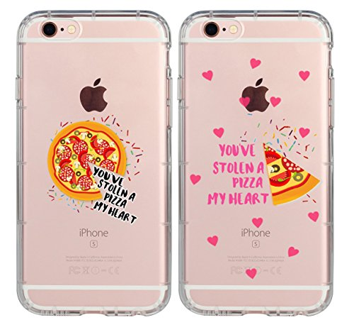 iPhone Couple Cases for Girls Boys,I Know This is Cheesy But You've Stolen A Pizza My Heart Couple Matching Pink Love Forever Quotes Husband Wife Soft Clear Case for iPhone 7/iPhone 8